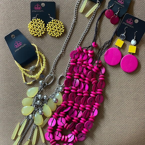 5pc Yellow and Pink Necklace Sets